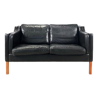 Vintage Danish 2-Seat Black Leather Loveseat by Stouby For Sale