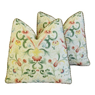 "Old World Floral & Scalamandre Velvet Mohair Feather/Down Pillows 19"" Square - Pair For Sale"