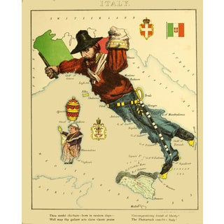 1869 Geographic Fun: Italy as a Revolutionary Figure With a Liberty Cap For Sale