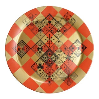 1950s Vintage Round Metal Tray For Sale