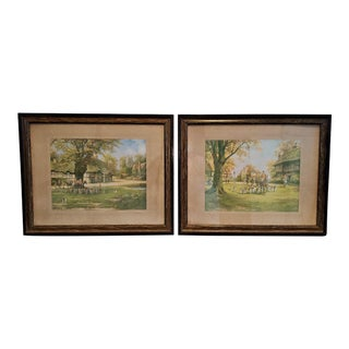 19th Century British Hunt Prints of the Meet on the Green and Crossing the Green - a Pair For Sale