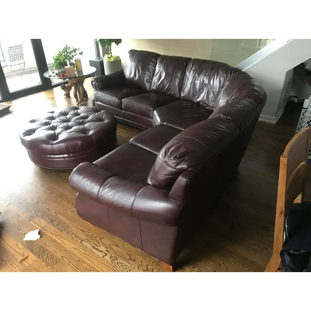 Italian Leather Sectional & Ottoman - Image 9 of 10