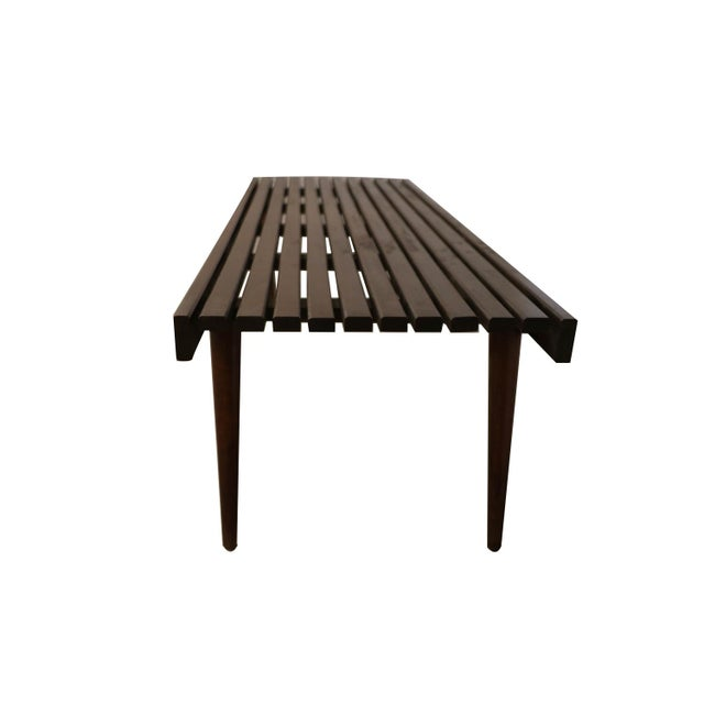 1960s Extra Long Mid Century Slatted Wood Bench Coffee Table George Nelson Style For Sale - Image 5 of 12