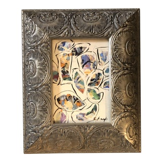 """Contemporary Original Abstract Stephen Heigh Painting """"Garden Rocks"""" Frame For Sale"""