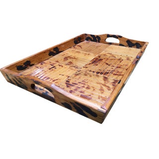 Restored Tiger Bamboo Cut Strip Serving Tray For Sale