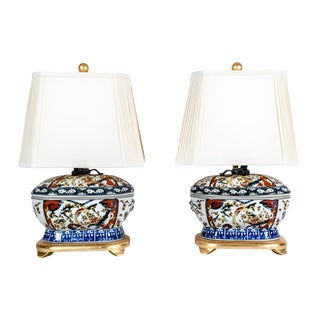 French Porcelain Late 20th Century Table Lamps - A Pair For Sale