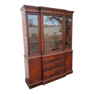 Flame Mahogany Breakfront China Display Cabinet Cupboard by White For Sale