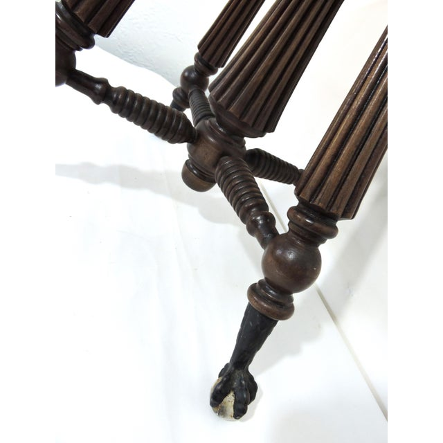 Tonk, Chicago & New York Mahogany Piano Stool With Ball & Claw Feet For Sale - Image 4 of 7