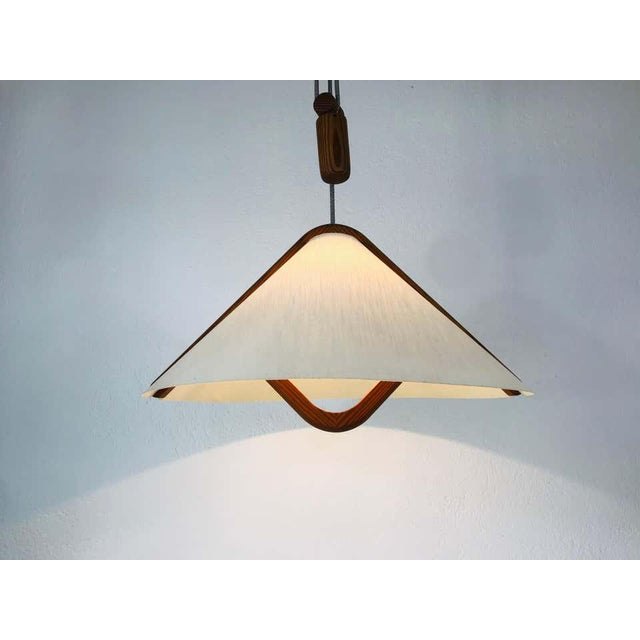 Domus Adjustable Midcentury Wooden Pendant Lamp with Counterweight by Domus, 1960s For Sale - Image 4 of 13