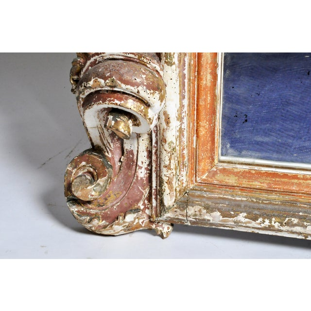 19th Century Italian Mirror With Carved Scroll-Work For Sale - Image 9 of 11