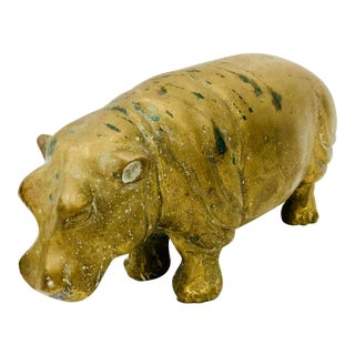Vintage Brass Hippo Sculpture