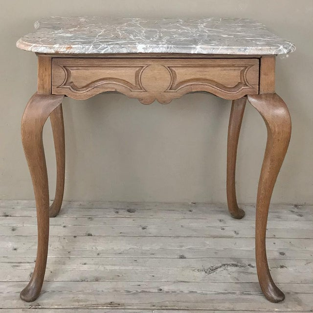19th Century French Louis Philippe Walnut Marble Top Writing Table For Sale - Image 4 of 12
