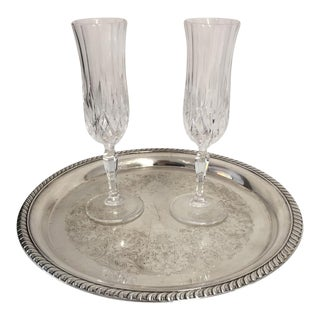 Serving for 2 Champagne Glasses & Silver Plate Tray - Set of 3 For Sale