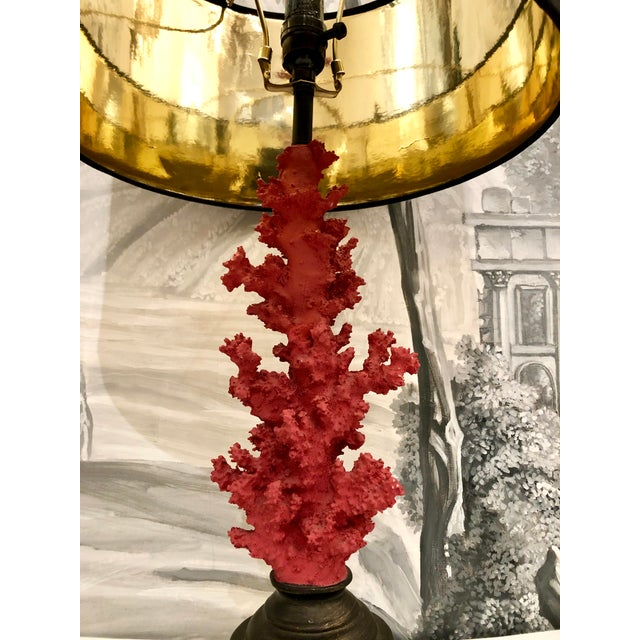 Vintage Red Faux Coral Branch Table Lamps - a Pair For Sale - Image 4 of 13