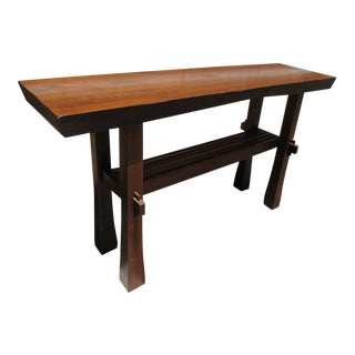 Arts & Crafts Mission Style Solid Wood Trestle Table For Sale