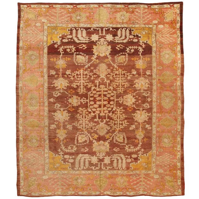 Exceptional Antique Mid-19th Century Turkish Oushak Carpet For Sale