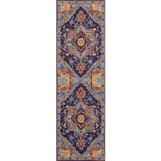 "Ibiza Navy Hand Tufted Area Rug 2'3"" X 7'10"" Runner For Sale"