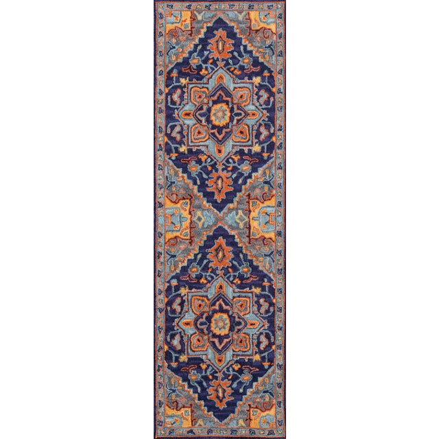 """Ibiza Navy Hand Tufted Area Rug 2'3"""" X 7'10"""" Runner For Sale"""