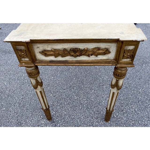 Italian Neoclassical Gilt-Wood Console, Marble Top For Sale In West Palm - Image 6 of 9