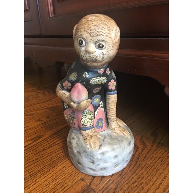 Chinese Ceramic Monkey & Peach Statue For Sale - Image 9 of 9