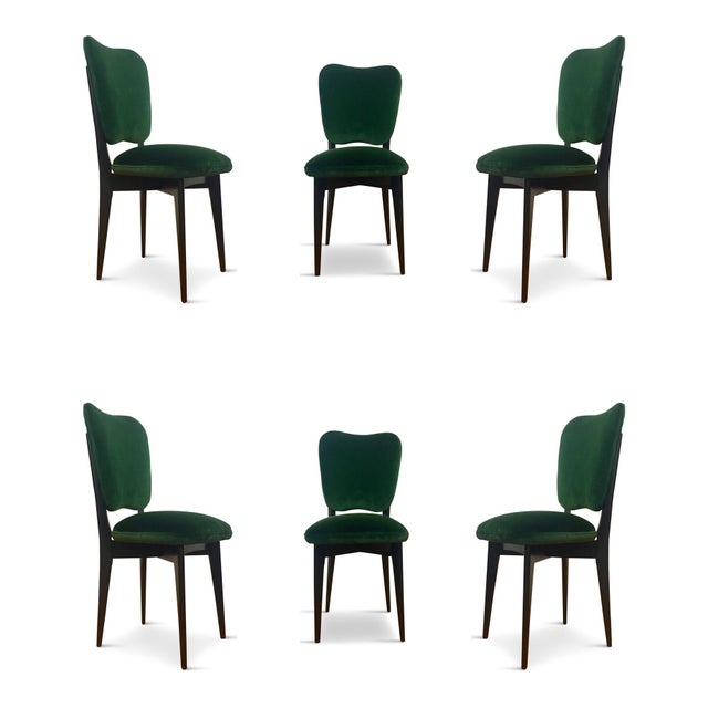 Green 1960s Mid-Century Modern Green Upholstered Dining Chairs - Set of 6 For Sale - Image 8 of 8