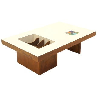 Danish Modern Coffee Table With Built in Magazine / Album Storage, Tile Inlay For Sale