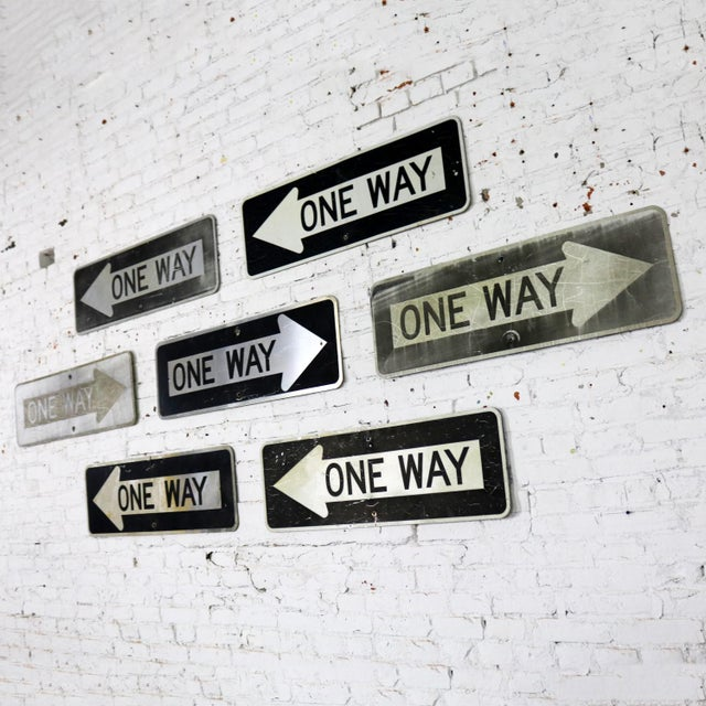 Americana Vintage Metal One Way Arrow Signs For Sale - Image 3 of 13