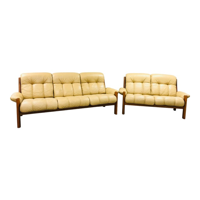 1970s Vintage Ekornes Stressless Montana Solid Teak Loveseat and Sofa - 2 Pieces For Sale