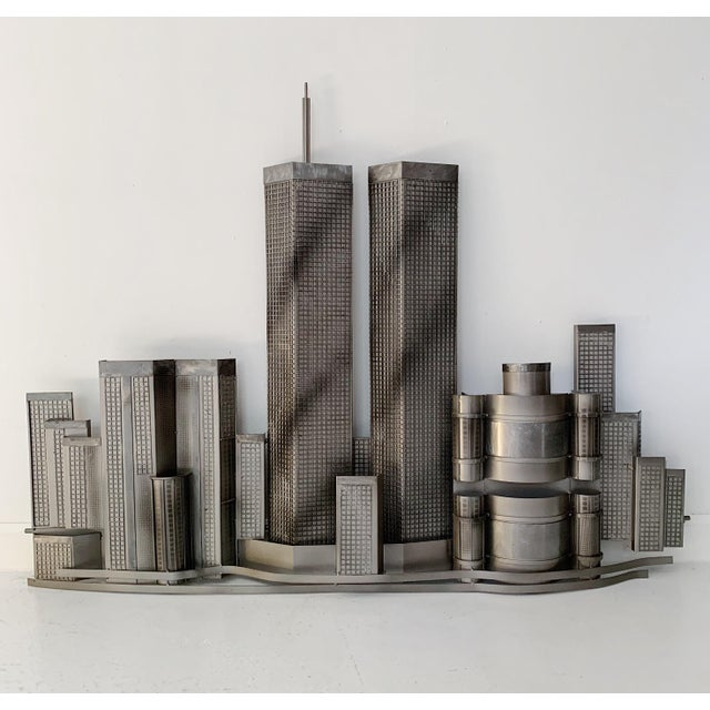 2000 - 2009 Curtis Jere World Trade Center Twin Towers Metal Wall Sculpture For Sale - Image 5 of 7