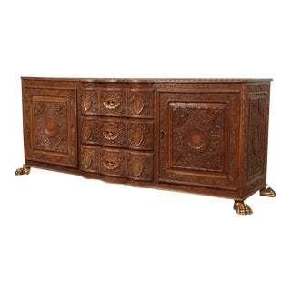 Asian Finely Hand-Carved Sideboard From Java, Indonesia For Sale