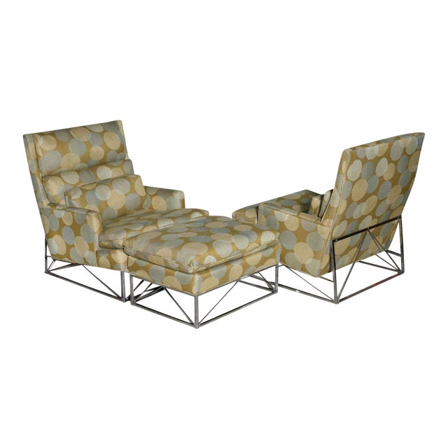 Fine Pair of Michel Boyer Chrome High Back Chairs and Ottoman For Sale