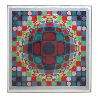 Signed, Victor Vasarely 1969 Op Art Silk Scarf Screen-Print For Sale