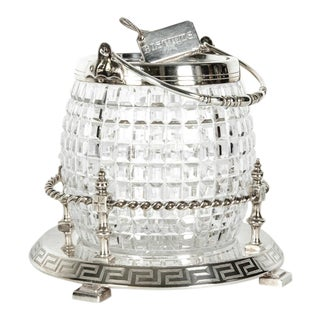 English Cut Crystal Barrel With Detachable Silver Plate Tray and Cover For Sale