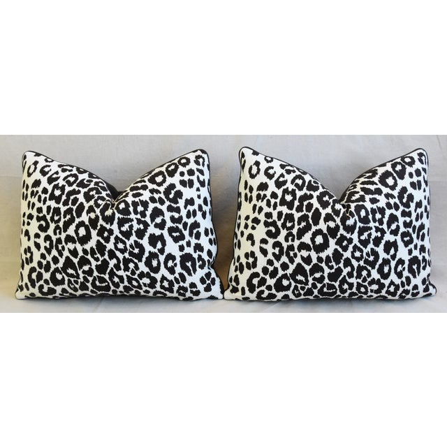 """Schumacher Animal Leopard Spot & Leather Feather/Down Pillows 22"""" X 16"""" - Pair For Sale In Los Angeles - Image 6 of 13"""