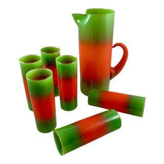 Mid-Century Modern Blendo Glass Orange & Green Beverage Barware Set, 7 Pcs. For Sale