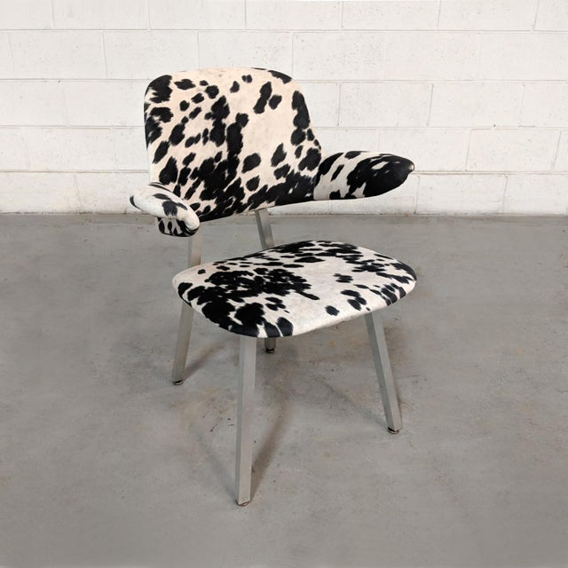 Mid Century Modern Shaw Walker Faux Cowhide & Aluminum Chair For Sale - Image 11 of 11