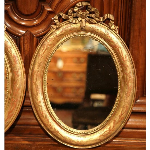 18th Century French Louis XVI Oval Gilt Ribbon Bow Mirrors - a Pair For Sale In Dallas - Image 6 of 9