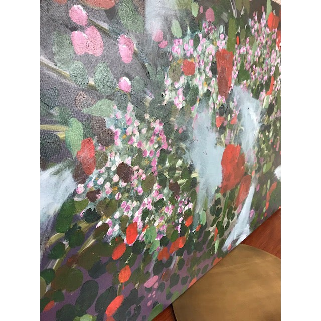 Abstract Vintage Abstract Floral Painting For Sale - Image 3 of 6