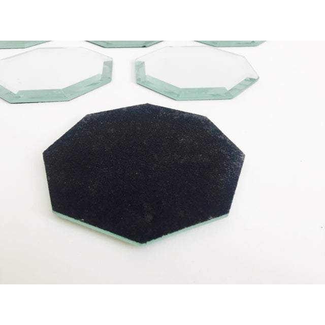 1980s Vintage Octagonal Mirror Coasters - Set of 6 For Sale - Image 5 of 7