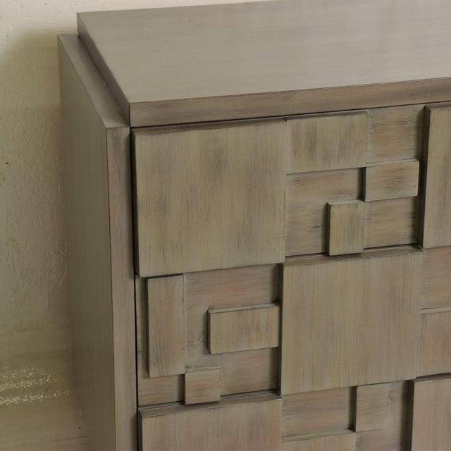 Lane Mid-Century Modern Brutalist Credenza Dresser in Custom Grey Finish For Sale In San Diego - Image 6 of 8