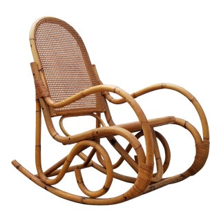Vintage Boho Chic Franco Albini Style Rattan and Cane Rocking Chair For Sale