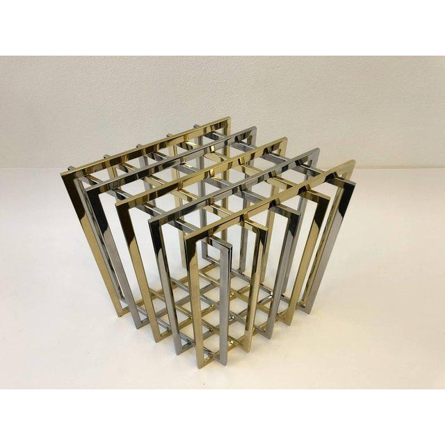 A glamorous 1970s polish brass and polish chrome grid dining table base by Pierre Cardin. The base can be used as a dining...