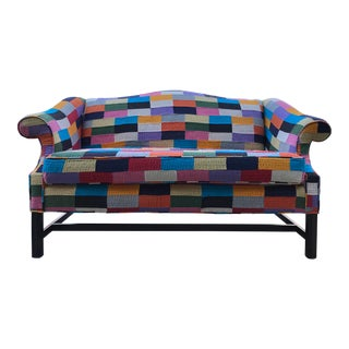 20th Centuruy Vintage Patchwork Camel Back Loveseat Sofa Settee BoHo Chic Multi Color For Sale