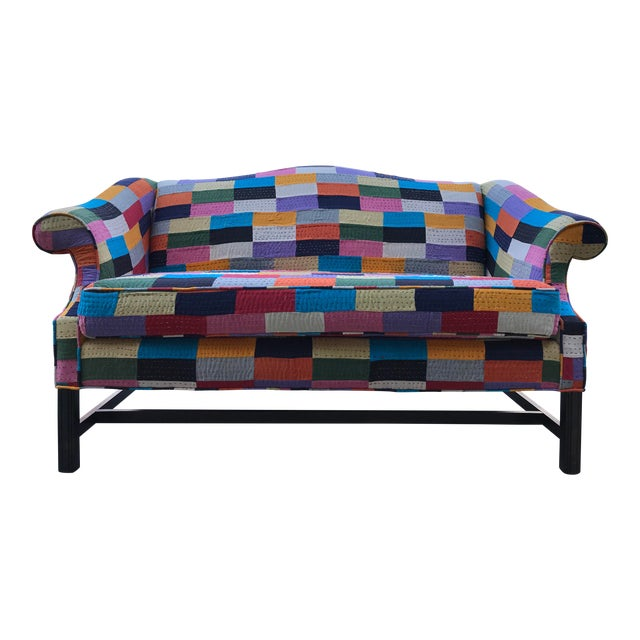 Love Seat 20th Century Patchwork Fabric Camel Back Sofa Settee BoHo Chic Multi Color For Sale