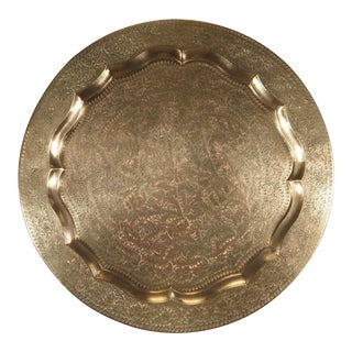 Anglo-Indian Round Brass Tray Wall Hanging For Sale