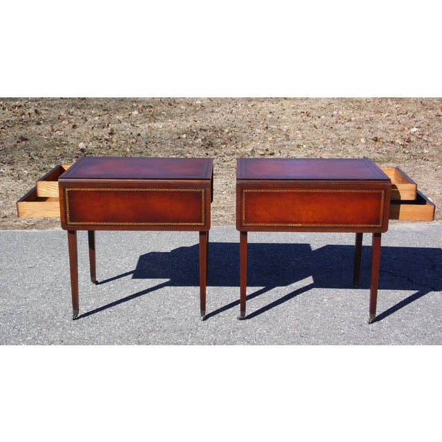 Traditional Pair Federal Leather Top Mahogany Drop Leaf End Tables Nightstands For Sale In Providence - Image 6 of 13