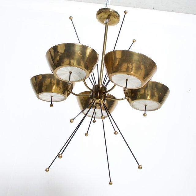 Metal Mid Century Modern Sputnik Italian Chandelier in Brass Paavo Tynell Attr For Sale - Image 7 of 7