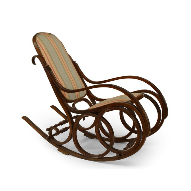 19th Century Thonet Style Bentwood Striped Rocking Chair For Sale - Image 5 of 5