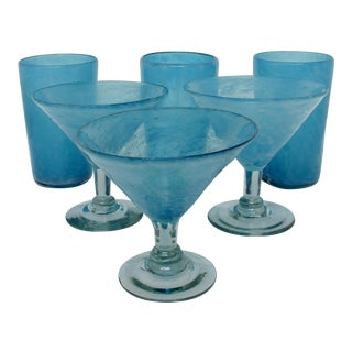 Rustic Mexican Glassware - 6 Pieces For Sale