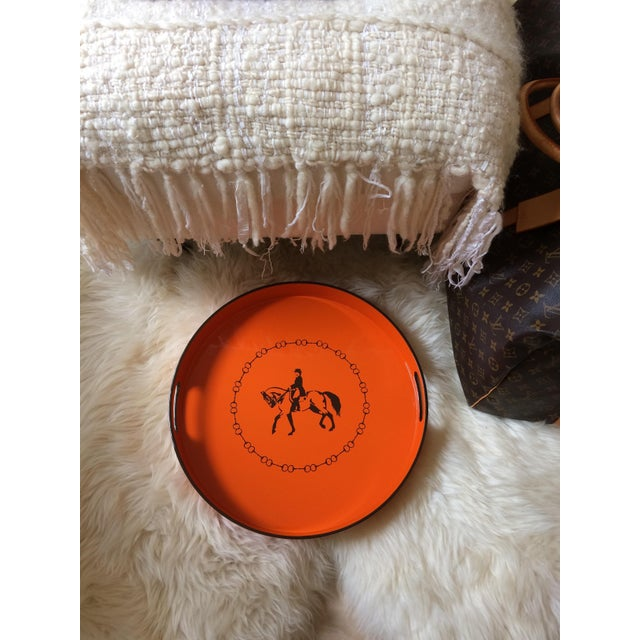 """Beautiful and functional equestrian orange and brown lacquer serving/ bar tray, 15"""" inspired by Hermes. Made of sturdy..."""